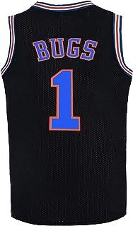 BOROLIN Herren Basketballtrikot Bugs #1 Weltraumtrikot Weiß/Schwarz/Blau 90er Jahre Hiphop Party Kleidung