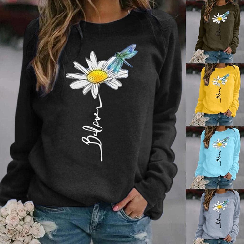 FABIURT Crewneck Sweatshirts for Women,Womens Long Sleeve Graphic Tee Shirts Dandelions Sunflower Pullover Tops