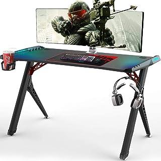 Vordern Gaming Desk,Premium Home Office PC Computer Table for Gamer Pro, Black Gaming Desks Workstation with RGB LED Light...