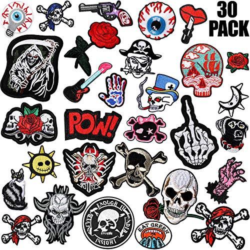WILLBOND 30 Stück Rock Punk Band Patch Set Punk Aufbügel Patches Verschiedene Punk Bestickt Aufbügel Patches Schädel Augapfel Muster für Halloween Jacken Hut Kleidung Taschen Dekoration