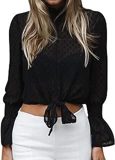 Women Chiffon Floral Flare Sleeve Short Bow Shirt Dot Print Top Blouse