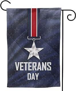 نجوم فضية على أعلام الحديقة الشريط 32.5 × 45.7 سم تهانينا في يوم المحاربين القدامى في الولايات المتحدة الأمريكية أعلام الم...
