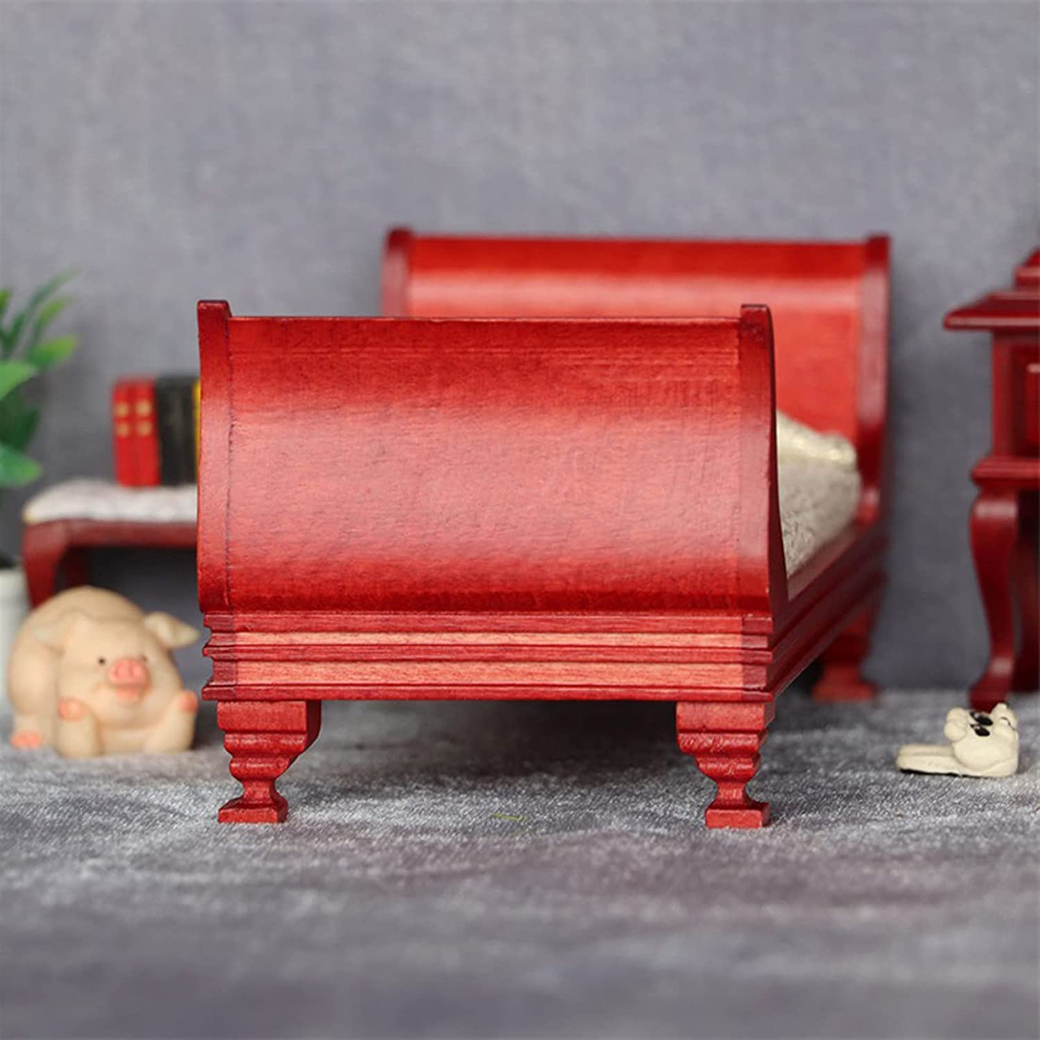 Red Wood Mini Bed Vintage Decor Wooden Simulation Single Bed ...