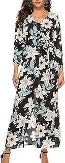 Women's Long Boho Dress Floral Print Long Sleeve V-Neck Hem Split Ladies Maxi Dress with Belt