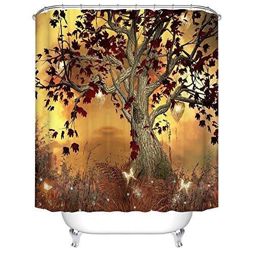 MIN-XL Duschvorhang für Badezimmer Badewanne, Hochwertige Qualität Duschvorhänge, 100prozent Polyester, Wasserdicht, Schimmel-Beweis, inkl. 12 Duschvorhangringe, 180x180cm (Art-9)