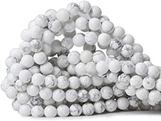 """Qiwan 45PCS 8mm Gorgeous Natural White Howlite Round Beads Gemstone Loose Beads for Jewelry Making 1 Strand 15"""""""