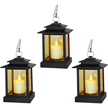 RY Indoor and Outdoor Lanterns Decorative, Included Pillar Dancing Flame LED Candles with 5 Hours Timer (Pack of 3)