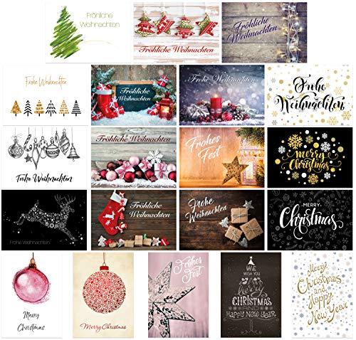 20 unterschiedliche Weihnachts-Postkarten im Set, Weihnachtskarten, Weihnachtspostkarten, moderne und klassische Karten