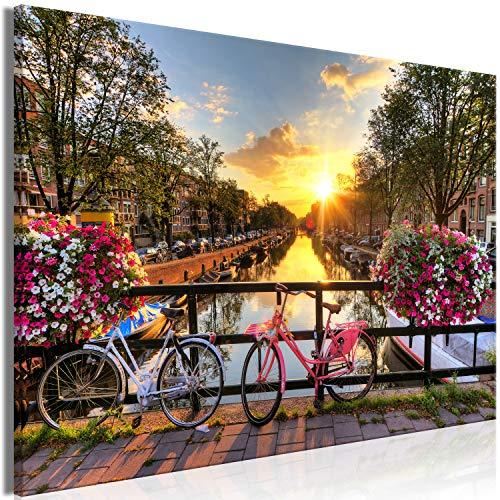 murando Cuadro en Lienzo Paisaje 90x60 cm 1 Parte Impresión en Material Tejido no Tejido Impresión Artística Decoracion de Pared Países Bajos Bicicleta Ciudad Arquitectura Amsterdam c-B-0542-b