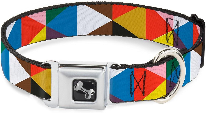 BuckleDown DCW30786WS Dog Collar Seatbelt BuckleGeometric Triangle Blocks Multi color, 13 18