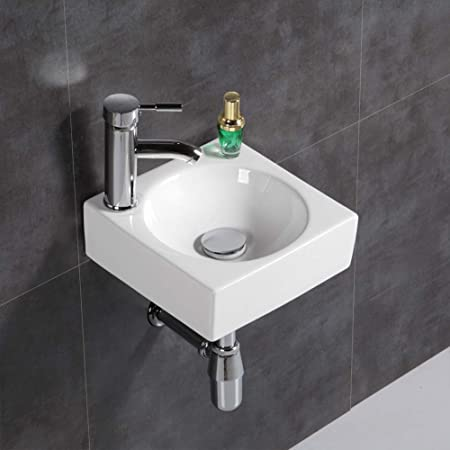 Modern Square Small Right Hand Cloakroom Wall Hung Counter top Corner Basin Sink