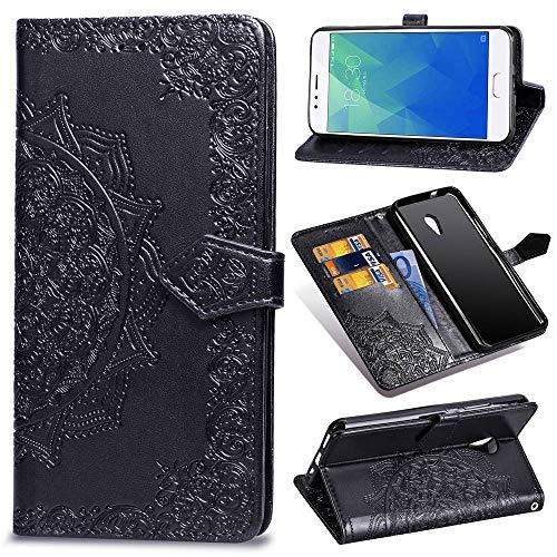Ycloud PU Leder Tasche für Meizu M5S Kunstleder Wallet Flip Case mit Standfunktion Kartenfächer Entwurf Mandala Prägen Schwarz Hülle für Meizu M5S
