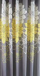 Sfoothome Gray Background and Yellow Flower Pattern, Washable Printed Polyester Fabric Shower Curtain for Bathroom (72Inch72Inch, Yellow)