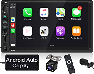 $85 » Double Din Car Stereo with Apple Carplay and Android Auto, 7 inch Bluetooth Touchscreen Car Radio Support Voice Control Mi...