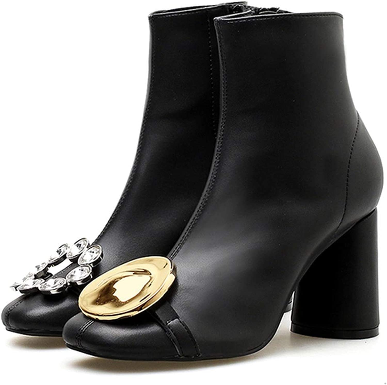 9d886a623de5e Nice Style Ankle Boots for Women Crystal Rhinestone Metal Decor ...