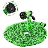 Tubo Estensibile per Irrigazione Giardino con Pistola 7 funzioni Getti Acqua in Gomma e Tessuto con Adattatore (lunghezza da 7m-22m)
