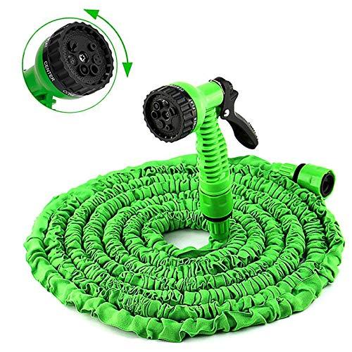 Italdos Tubo Estensibile per Irrigazione Giardino con Pistola 7 funzioni Getti Acqua in Gomma e Tessuto con Adattatore (lunghezza da 7m-22m)