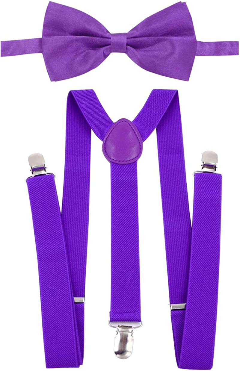 Panegy Leather Suspenders Pretied Bowtie Set for Tuxedo Dress With Strong Clips