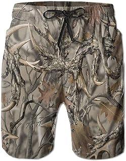 Qfunny New Realtree Camo Men's Beach Shorts with Pockets Quick Dry Summer Shorts Swim Trunks Shorts de Playa para Hombre