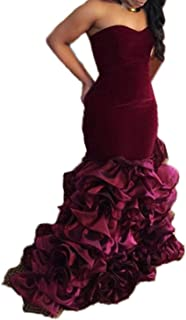 Burgundy Velvet Long Mermaid V Neck Prom Dresses Evening Gowns for Women
