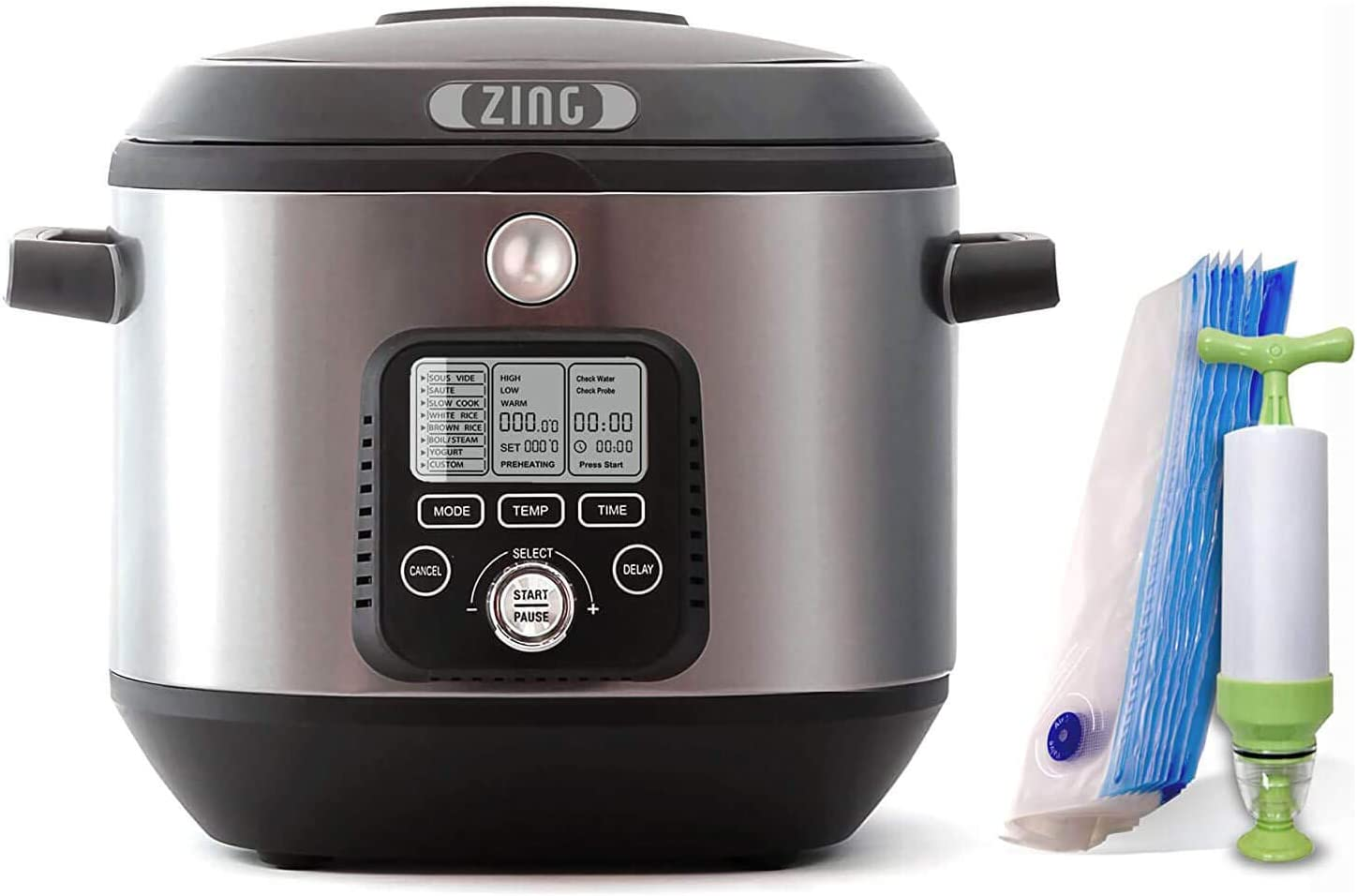 Zing Sous Vide Cooker Machine Starter Kit, 6 Quart Pot, Stainless Steel, Programmable Precise Temperature Cooking with Digital Timer – Manual Vacuum Sealer Included