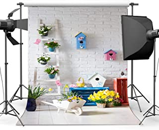Gladbuy Happy Easter Backdrop 5X7FT Vinyl Eggs Hunts Backdrops Fresh Floral Garden Birdcage Spring Frohe Ostern Photography Background for Kids Celebrate Resurrection of Jesus Photo Studio Props EB249