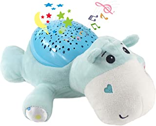 Fisca Baby Sleep Soother, Infant Slumber Buddies 60 Lullabies White Noise Starlight Projection Sound Machine (Plush Hippo)