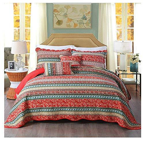 RUIKL 100% katoen gewatteerde sprei zacht lichtgewicht 3 stuk rode patchwork quilt bed spreien met kussenslopen 98.5x106.3 inch