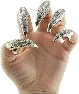10pcs bestga Gótico Punk Estilo 3tamaños brillantes Pavé Paw Codo dedo oxímetro de pinza para Anillo Falso Falso Nails Set