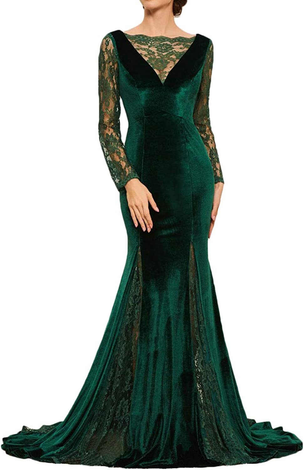 Alilith.Z Sexy V Neck Velvet Prom Dresses 2019 Mermaid Long Sleeves Lace Evening Dresses Formal Party Gowns for Women