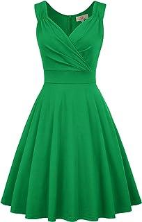 cd864fdb1c0 GRACE KARIN Women s 50s 60s Vintage Sleeveless V-Neck Cocktail Swing Dress