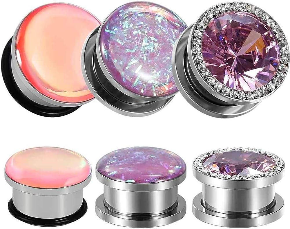 TBOSEN 6 PCS Stainless Steel Screw Ear Gauges Big Cubic Zirconia Plugs Tunnels Expander Body Piercing Jewelry Set