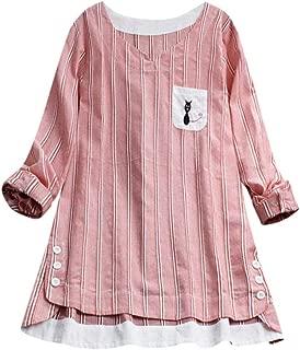 Bigfanshu Women's Blouse Fashion 2019 Ladies Striped Cat Embroidery T-Shirt Long Sleevel Tops Blouse