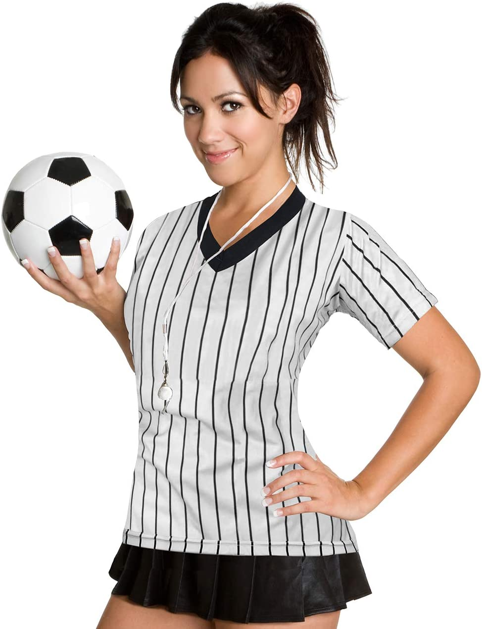ChinFun Womens Official Black Pinstripe Referee Shirt Classic Umpire Jersey Short Sleeve V-Neck Fitted Ref Jersey Tee Shirts Light Grey