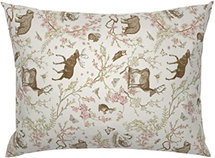 dark by nouveau/_bohemian Woodland Spring Toile Woodland Pillow Sham Forest Animal Cotton Sateen Pillow Sham Bedding by Spoonflower