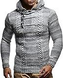 leif nelson maglione con cappuccio uomo felpa a maglia ln-20743 grigio x-large