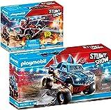 Playmobil® Stuntshow Lot de 2 Articles 70550 70554 Monster Truck Requin + Véhicule et Pompier