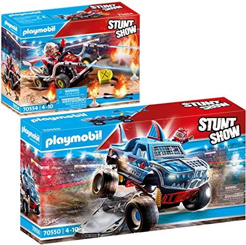 PLAYMOBIL Stuntshow Juego de 2 Piezas 70550 70554 Monster Truck Shark + Kart Bombero