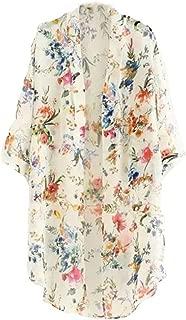 Women's 3/4 Sleeve Floral High Low Chiffon Kimono Cardigan Blouse
