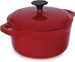 Hell's Kitchen HK-275 Cast Iron Nonstick, 3 QT-Red-Dutch Oven, 3QT,