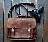 SC Leather DSLR Camera Bag 15.6-Inch Laptop Briefcase; Shoulder Bag Messenger Satchel; Removable