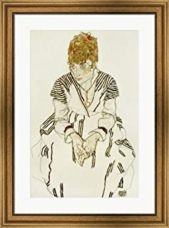 The Artist's Sister-in-Law in Striped Dress, Seated, 1917 by Egon Schiele Framed Art Print Wall Picture, Wide Gold Frame, 23 x 32 inches