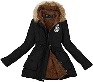 LOOKATOOL Womens Warm Long Coat Fur Collar Hooded Jacket Slim Winter Parka Outwear Coats