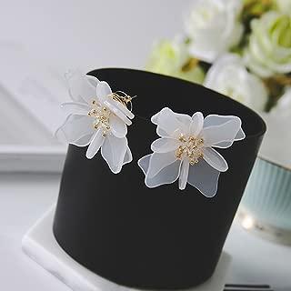 Aranher(TM) Jewelry Petals Crystal White Camellia Flower Big Women Fashion Stud Earrings