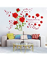 decalmile Vinilos Romántico Roja Rosa Flores Pegatinas Pared Desmontable DIY Decorativos Adhesivos para Sala De Estar Dormitorio