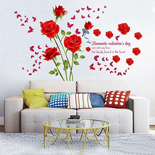 decalmile Romantische Rot Rose Wandaufkleber Abnehmbare Vinyl Wandtattoo Wandmalereien Für Wohnzimmer Schlafzimmer
