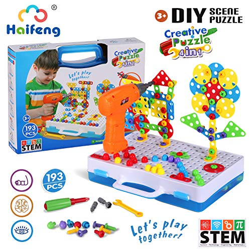 193 Pieces STEM Toys Drill Tool Set, DIY Creative 2D/3D Puzzle Peg board, Construction Engineering Building Blocks Learning Kit For Ages 3-10 Years Old, Kids Best Toys, Creative Games & Fun Activity