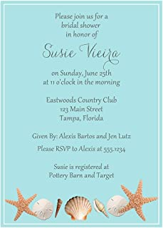 Beach Bridal Shower Invitations Wedding Invites Shells Sea Shore Blue Sand Dollar Starfish Wedding Retro Oceanside Personalized Custom Printed (10 Count)