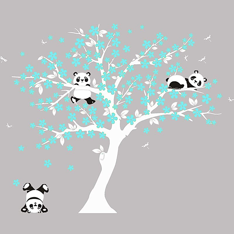 MAFENT Tree Wall Decals For Kids Room With Three Little Panda Bears Wall Stickers Nursery Wall Decals Room Decoration White And Blue