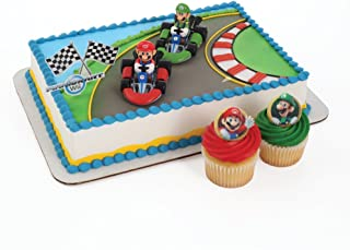 Super Mario Cake Topper and 24 Cupcake Topper Rings
